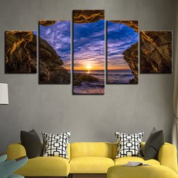 Art Canvas Prints Australia - Canvas Paintings Home Decor 5 Pieces Cave Sunset Sea Wave Seascape Pictures For Living Room HD Prints Posters Wall Art Framework