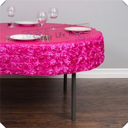 $enCountryForm.capitalKeyWord NZ - 10PCS Free shipping Cheap 3D Satin Rosette table cloths Fuchsia spandex table cover 150CM Round tablecloth for wedding decoration