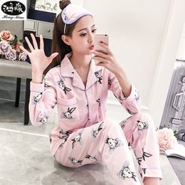 b8812a341a 2018 Autumn Women Pajamas Set Cotton Thin Korean Long Sleeve Lapel Sweet  Lovely Home Wear Cardigan Pajamas Set