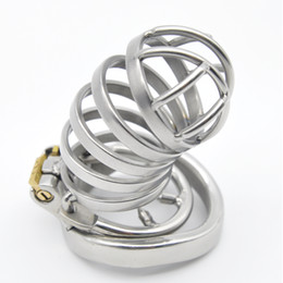 sexy male belt Canada - Male Long Stainless Steel Chastity Cage Men's Metal Large Locking Belt Device Barbed Spike Ring Hot Selling Sexy Toys DoctorMonalisa CC106