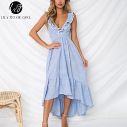 edfd1606396 Lily Rosie Girl Deep V Neck Backless Beach Dress Ruffle Summer Dress Blue  Asymmetrical Casual Dress Maxi Long Vestidos Y1891108