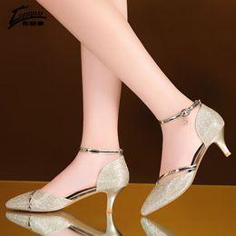 Gold Low Heeled Sandals NZ - Sexy Shoes Woman High Heels Wedding Shoes Birde Rhinestones Gold Silver High Heels Women Shoes Summer Sandals ladies 2018 #786