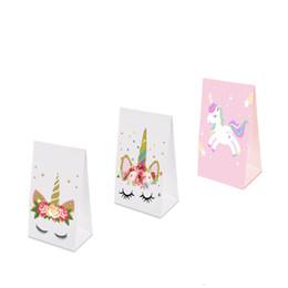 Bolsa de papel para fiestas de unicornio Bolsa de embalaje para dulces Regalos de navidad y papel de regalo para navidad Bolsas de papel de alta calidad Suministros de fiesta para unicornio