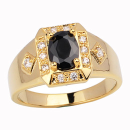 Chinese  New Cute Mens Gold Filled Real 925 Sterling Silver Ring Black Onyx Size10 11 12 13 R117 manufacturers