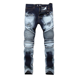 light bike pants UK - European and American style BIKE JEANS high street Popular locomotive foot male personality ruffle cultivate pants high elastic jeans