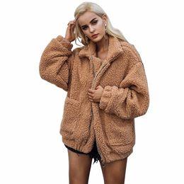 Ladies imitation fur coats online shopping - women s Winter coat solid imitation fur long sleeved collar pocket loose plush coat for women ladies outerwear