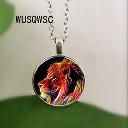 vintage lion pendant 2019 - WUSQWSC 2018 New Fractal Lion Pendant Necklace Vintage Animal Wildlife Pendant Glass Jewelry for Men and Women Wholesale