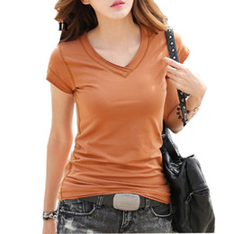 Female clothings online shopping - V Neck Slim Cotton Tees for Women Summer White Black Female T Shirts Short Sleeve Soft Tops Ladies Clothings
