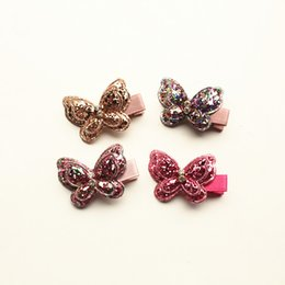 Baby Sequin Hair Clips Wholesale Australia - 20pcs lot New Baby Glitter Double Layers Girls Hairpins Kids Round Sequins Shinning Crystal Butterfly Hair Clip Prince Party Headwear Kid