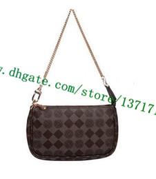 4882dbbbc4d4 Высший сорт холст покрытием натуральная кожа Леди сумка мини-POCHETTE  аксессуары коричневый плед N58009 Монно M58009 Белый N58010 женщины сумка  на запястье