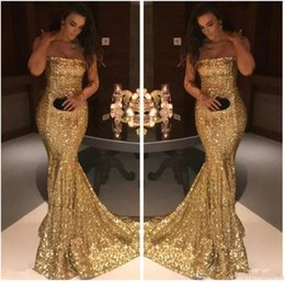 $enCountryForm.capitalKeyWord Australia - Bling Bling Gold Sequined Evening Dresses Strapless Mermaid Formal Party Prom Gowns Modest 2019 New Plus Size Arabic Dubai Dress