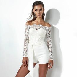 3aae833165e Lace Off Shoulder Bodysuit Women See Through Long Sleeve Skinny White Women  Rompers Casual Feminino Jumpsuit Shorts Bodysuit