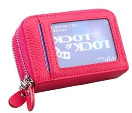 $enCountryForm.capitalKeyWord Canada - wholesale Genuine Leather Women ID Card Holder Double Zipper Large Capacity RFID Blocking Credit Card Business Card Wallet