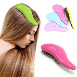 $enCountryForm.capitalKeyWord Australia - Magic Anti-static Hair Brush Handle Tangle Detangling Comb Shower Electroplate Massage Comb Salon Hair Styling Tool