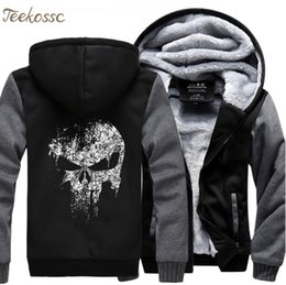 Ingrosso  The Skull Sweatshirts Men 2018 New Winter Fleece Stampa Felpa con cappuccio pesante Hoddie Streetwear Hip Hop Uomo