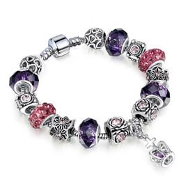 $enCountryForm.capitalKeyWord NZ - Fashion Jewelry Antique Silver Women DIY Charm Bracelet Trendy Bear Big Crystal Beads Crown pendant copper Bangle bracelets for Women