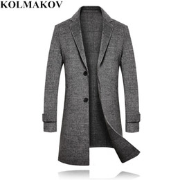 b3d8f7db50 KOLMAKOV Coats Mens 2018 winter Long Woolen coat men s Brand thicken Jackets  wool Plaid overcoat male slim fit plus size M-3XL