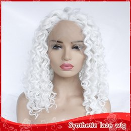 Discount wig lace front hair white - Fast Shipping Cosplay White Color Kinky Curly Wigs Baby Hair 180% Density Heat Resistant Glueless Synthetic Lace Front W