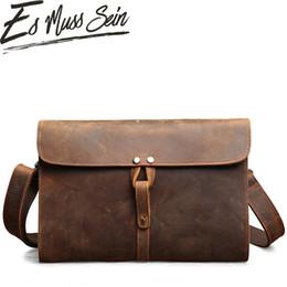 Horse Clutch Handbag Australia - EsMussSein Simplicity Thin and Light Men Woman Handbag Vintage Crazy Horse Genuine Leather Leisure Envelope Clutch Men Handy Bag
