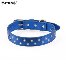 Dog Collars Bling NZ - T-MENG 4 Colors Diamonds Dog Collar Soft Genuine Leather With Two Row Rhinestone Bling Pet Collars For Small And Large dogs