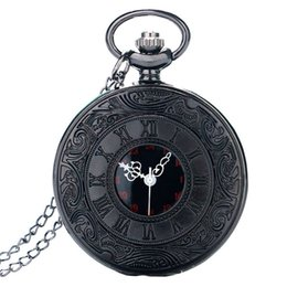 Chinese  2018 New Arrivel Black Hollow Roman Numbers Design Black Dial Pocket Watch for Unisex Gift Vintage Long Necklace Pendant Watches manufacturers