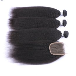 Discount italian yaki lace closure - Brazilian 9A Kinky Straight Hair Bundles With Lace Closure 4pcs lot Free Part Italian Coarse Yaki Lace Closure 4x4 With