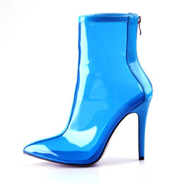 5f75a686409 Clear PVC Transparent Boots Rain Shoes Women Pointed Toe Spike Heel Jelly  Boots Back Zipper Waterproof High Heels Ankle Rainboots