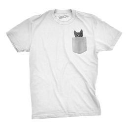 3afbc5099 Details zu Mens Pocket Cat T Shirt Funny Printed Peeking Pet Kitten Animal  Tee For Guys Casual Funny free shipping Unisex tee gift