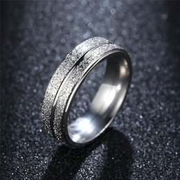 $enCountryForm.capitalKeyWord NZ - New Wedding Silver Color Ring Stainless Steel Double Row Frosted Rings Titanium Steel anillos For Women Men Bijoux