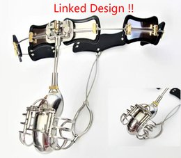Bdsm Male Steel Cage Australia - Linked Design!!! Male Chastity Devices Adjustable Stainless Steel Curve Waist Chastity Belt with Full Closed Winding Cock Cage BDSM Sex Toy