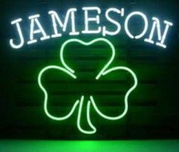 neon shamrock sign UK - Jameson Irish Whiskey Shamrock glass tube Neon Light Sign Home Beer Bar Pub Recreation Room Lights Windows Glass Wall Signs 17*14 inches