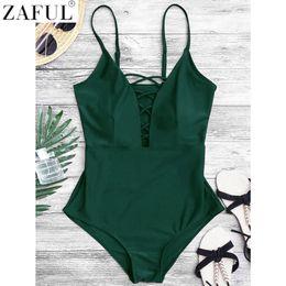 9458c29b1d 7 Fotos Plunging one piece swimwear online-ZAFUL Mujeres Sexy Crisscross  Plunge Traje de Baño Sin Espalda