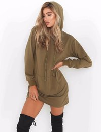 $enCountryForm.capitalKeyWord NZ - 2018 New Solid Hoodies for Women Fashion Long Sleeve Hooded Pullovers with Pocket 2 Colors Sports Dresses