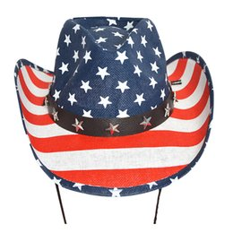 Cowboy deCorations online shopping - Summer Sun Hats American Flag Stars Stripe Hollow Western Cowboy Hat Equestrian Cap For Beach Party Decoration wk UU
