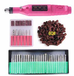 Electric Nail Art Polish Machine Nail Drill Bits Set Manicure Pedicure Cuticle Acrylic Gel Remover Tools Kit EU US Plug on Sale