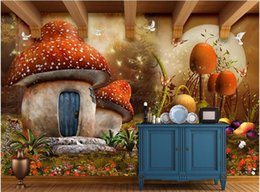 3d Wall Sticker Fairy NZ - 3d Custom photo wallpaper mural wall stickers fairy fantasy mushroom house children room background wall painting