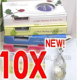wish pearl gifts NZ - SALE 10 Box helix(drop) pendant Natural Wish Pearl Necklace gift set Box