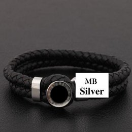 Wholesale Stainless Steel MB Bracelet Europe's most popular the choice of luxury bracelet black Genuine leather chain