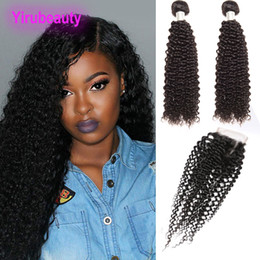 Natural humaN hair afro pieces online shopping - Malaysian Human Hair Bundles With Lace Closure Free Part Kinky Curly Pieces Mink Afro Kinky Curly inch