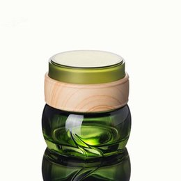 Chinese  Wholesale-Green Glass Bottles Eye Cream Jar 50g Empty Cosmetic Container 1oz Make Up Glass Jar F20172090 manufacturers