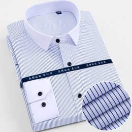 Smart Clothing NZ - New Arrived Mens shirts Brand Long sleeve striped Man Smart Social Dress Shirts White Blue Splice Male Clothing Big Size 4XL