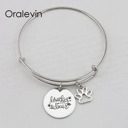 $enCountryForm.capitalKeyWord NZ - BROTHER BEAR Inspirational Hand Stamped Engraved Custom Pendant Expandable Wire Bangle Bracelet Diy Jewelry,10Pcs Lot, #LN2240B