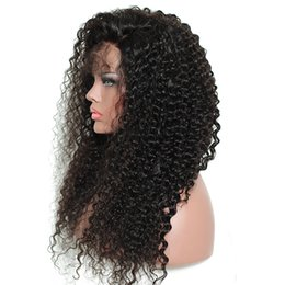 Discount hair jet black 26 inches - Full Lace Human Hair Wigs Pre Plucked Brazilian Kinky Curly Remy Hair Jet Black Glueless Full Lacee Wig 8-26 inch