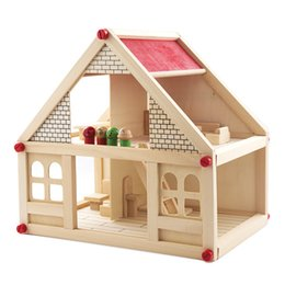 small wood house UK - DIY Kit Dollhouse Toy Simulation Small Villa Wooden Building House assembly disassemly With Furnitures Pretend Play Gift