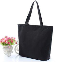 55eec51942ff Fashion Blank Women s Casual Tote Durable Canvas Shoulder Bag White Black  Shopper Bags High Quality Plain Handbag Shopping Bags