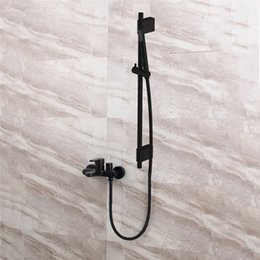 Bathroom Square Faucet Set Australia - Black Shower Mixing Faucet Brass Wall Mounted Basin Faucet Single Handle Bathroom Mixer Tap & Shower Head Sets &Shower Slide Bar