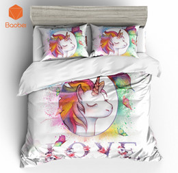 Discount twin kids bedding set - 3Pcs 3D Cute Cartoon LOVE Unicorn Bedding Set Pillowcases Duvet Cover Quilt Cover For Kids Queen King Sizes Bedspreads S