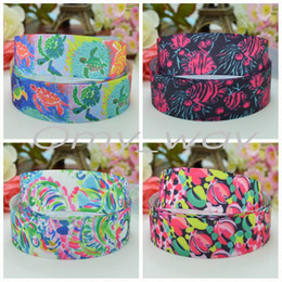 "$enCountryForm.capitalKeyWord Canada - 7 8""22mm Lilly fish Turtles flowers Printed grosgrain ribbon hairbow decoration DIY handmade wholesale OEM 50YD"