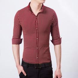 Large Mens Dress Shirts Canada - Fashion 2017 Men Shirts Striped Formal Dress Shirt Long Sleeve Mens Brand Casual Shirts Male Large Big Size Soft Cotton Shirt