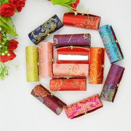 12PCS Flower Design Retro Batom Caso Brocade Box Holder Bordado com Espelho em Promoção